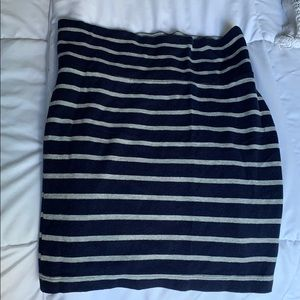 Blue and gray striped pencil skirt
